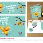 Illustration eines Weihnachtsmotivs und Adaption für Print Grußkarten, eCard und Social Media