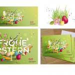 Illustration eines Ostermotivs und Adaption für Print Grußkarten, eCard und Social Media